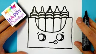 How to Draw a Crayon Box Kawaii and Easy step by step
