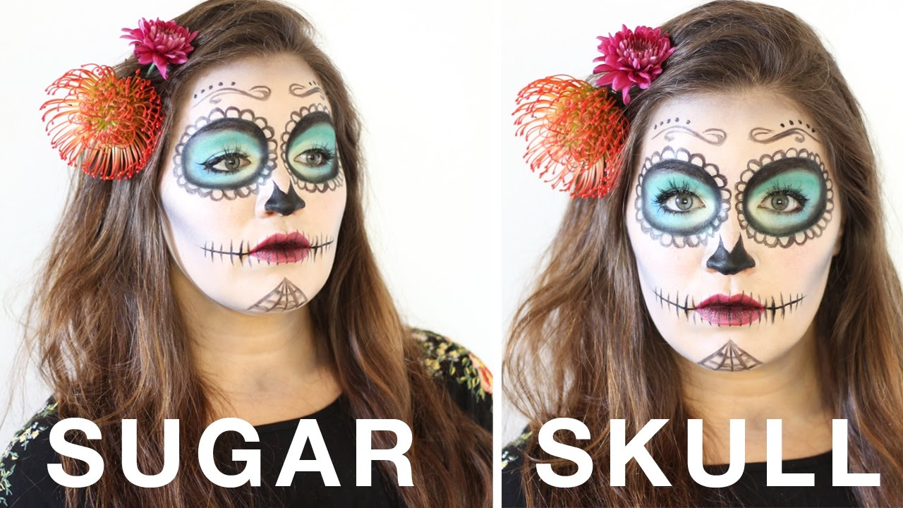 Simple Halloween Sugar Skull Day Of The Dead Makeup Tutorial - How-to-do-day-of-the-dead-makeup