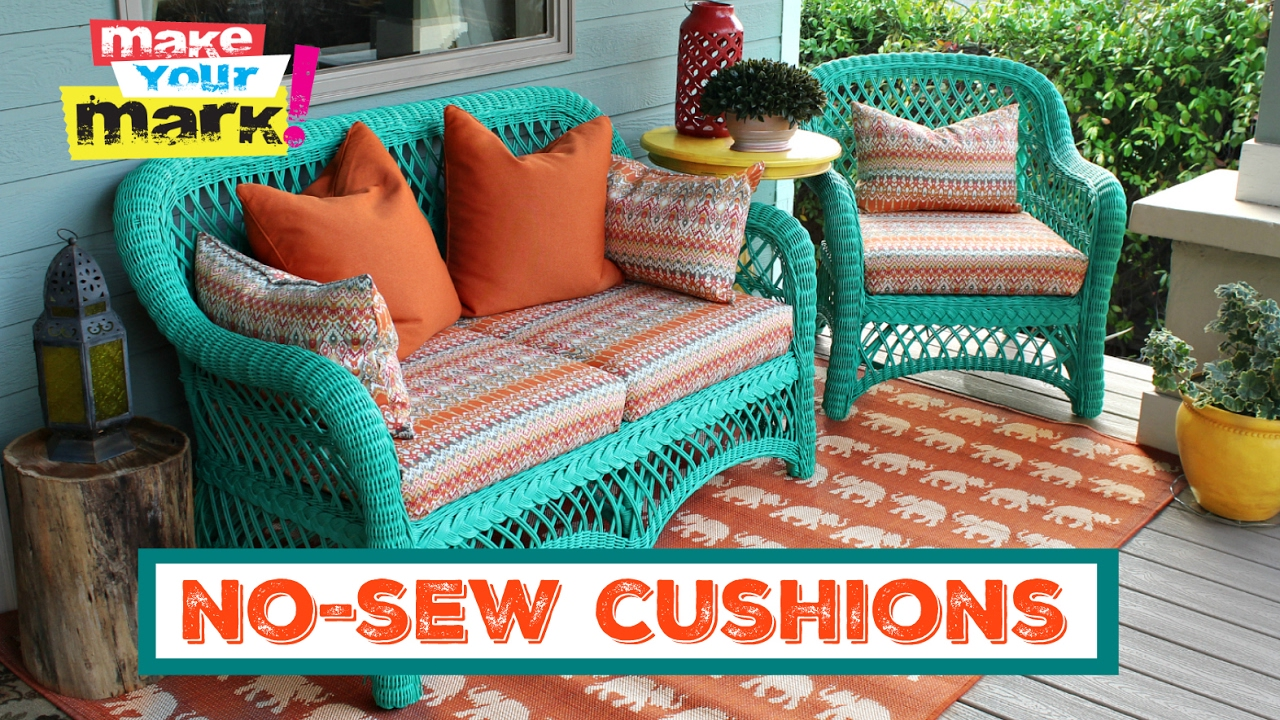 cushions for wicker chairs wheelchair jump fail how to no sew pillows and youtube