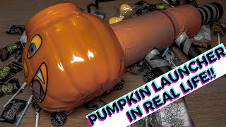 PUMPKIN LAUNCHER IN REAL LIFE! (Fortnite Battle Royale) (TRICK or TREAT) Halloween Bucket