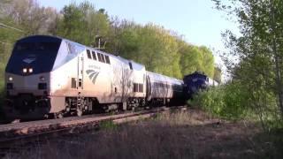 HD Amtrak 685 meets the Pan Am OCS at Plaistow NH 5-18-16