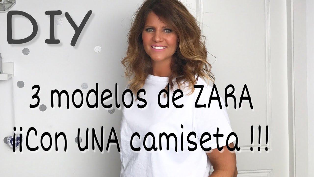 3 camisetas diferentes de ZARA transformando una básica. DIY - YouTube