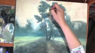 Лес,лучи солнца в тумане.Живопись маслом.Видео урок.