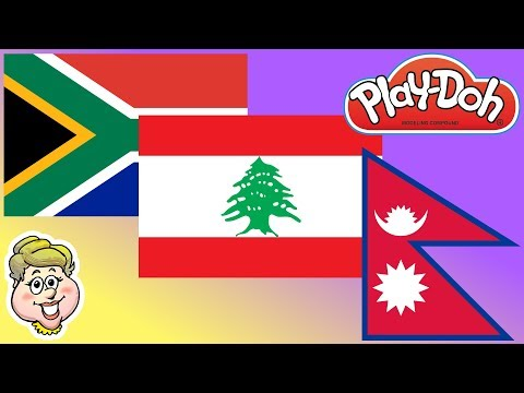 Play-Doh Flags! South Africa, Lebanon, and Nepal! EWMJ #452