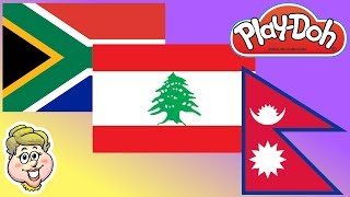 Play-Doh Flags! South Africa, Lebanon, and Nepal! EWMJ #452