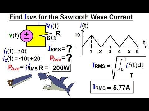 Electrical Engineering: Ch 12 AC Power (27 of 58) Find I-RMS for Sawtooth  Wave Current