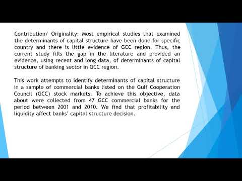 Determinants of Capital Structure of Banking Sector in GCC An Empirical Investigation  AEFR 57 959 9