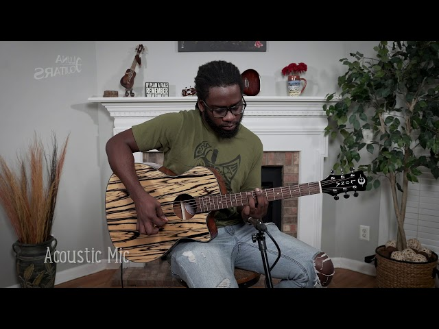 Luna Gypsy Exotic Black/White Ebony Acoustic-Electric Guitar