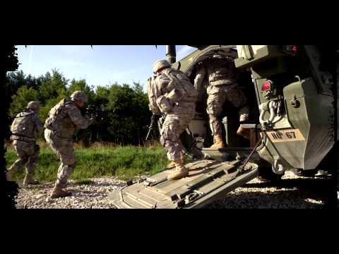 US Army Europe Infantry 2d Cavalry Regiment Germany   Soldiers dismount from Stryker Slow motion
