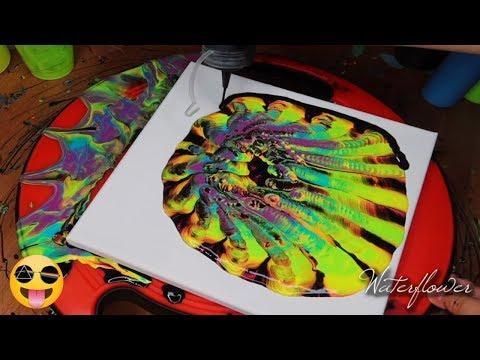 Rainbow Flower Reversed Colander Pour Fluid Art | Acrylic Pouring