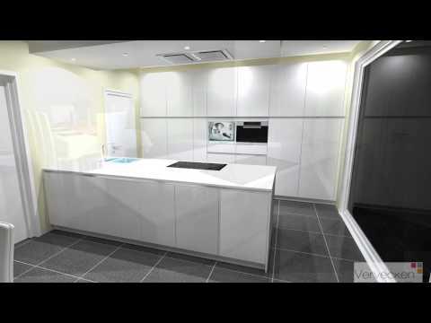 Keuken in structuurlak werkblad silestone composiet youtube - Werkblad silestone ...