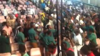 PREMPEH COLLEGE STUDENTS SING THEIR ANTHEM AFTER BEATING ST. FRANCIS XAVIER. BRILLA 2015