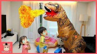 거대 공룡 변신한 말이야! 콩순이 타요 뽀로로 장난감 친구들 도와줘 ♡ 꾸러기 유니 미니 어린이 상황극 놀이 tayo bus kids toy | 말이야와아이들 MariAndKids