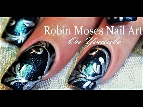 Diy Elegant Navy Nails Silver Filigree Nail Art Design Tutorial