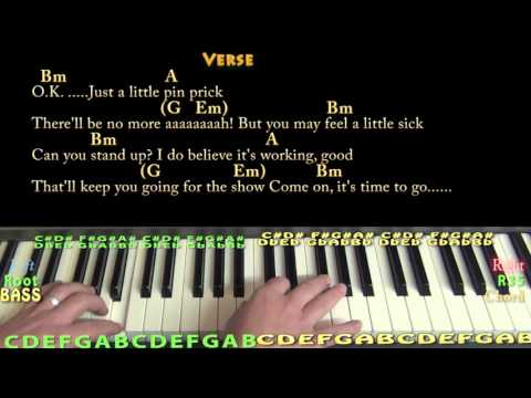 Comfortably Numb (Pink Floyd) Piano Lesson Chord Chart