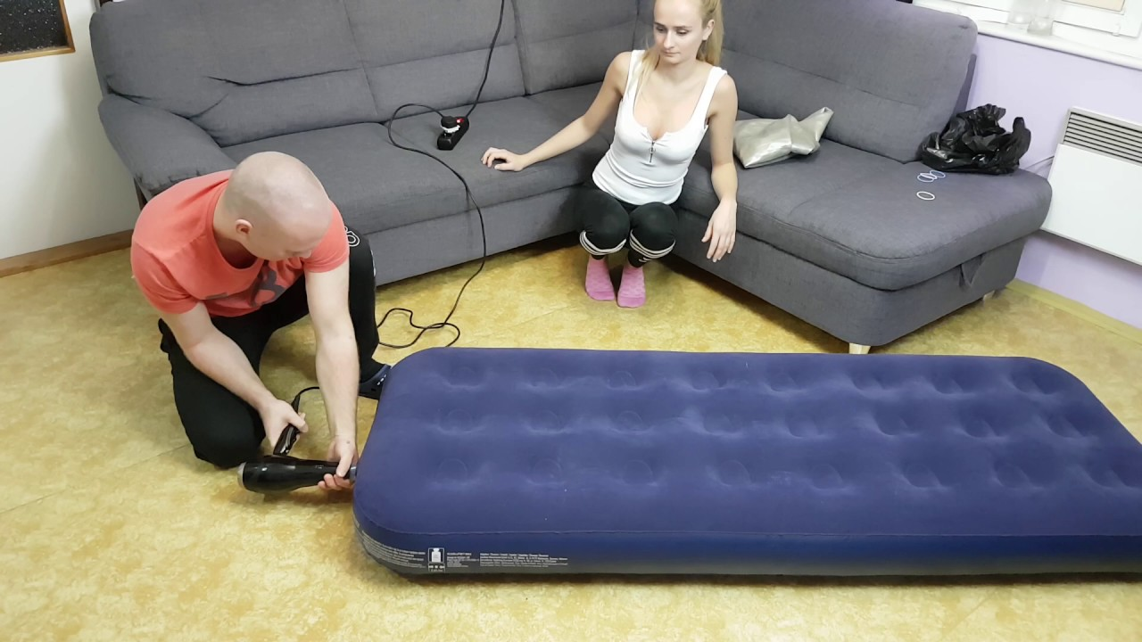 Life hack how to inflate fitball and air bed without a pump YouTube