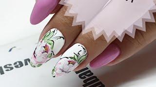 простой и быстрый дизайн ногтей  Мазковые пионы  Летний дизайн ногтей