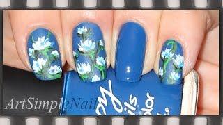 Дизайн ногтей и рисунки на ногтях: Синий маникюр Цветы | Blue Acrylic Nails With Flowers