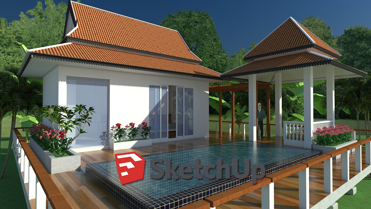 SketchUp Exterior House Design With Pool (speed Video