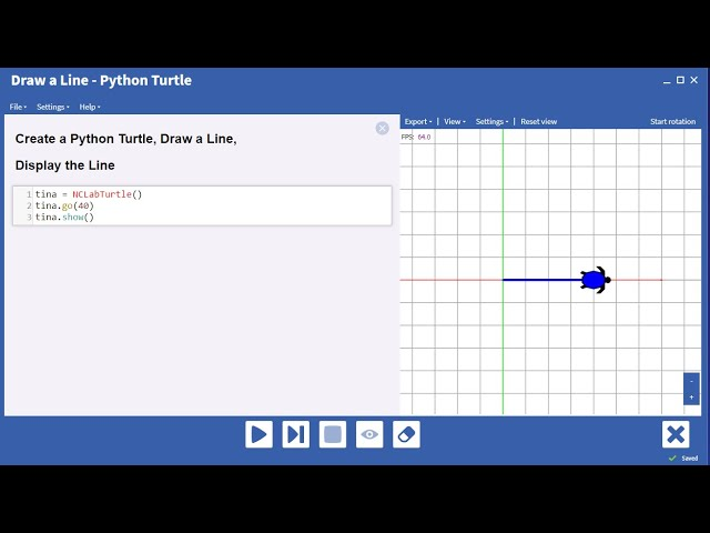 Create an NCLab Python Turtle, Draw a Line,  and Display the Line