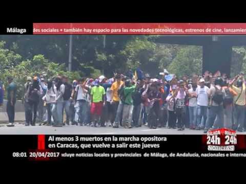 Al menos 3 muertos en la marcha opositora en Caracas, que vuelve a salir este jueves