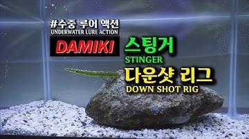 다미끼 스팅거 다운샷 리그 수중 루어액션(DAMIKI STINGER DOWNSHOT RIG UNDERWATER LUREACTION)