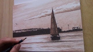 drawing a sailing boat with two pencils - one new color every month #2
