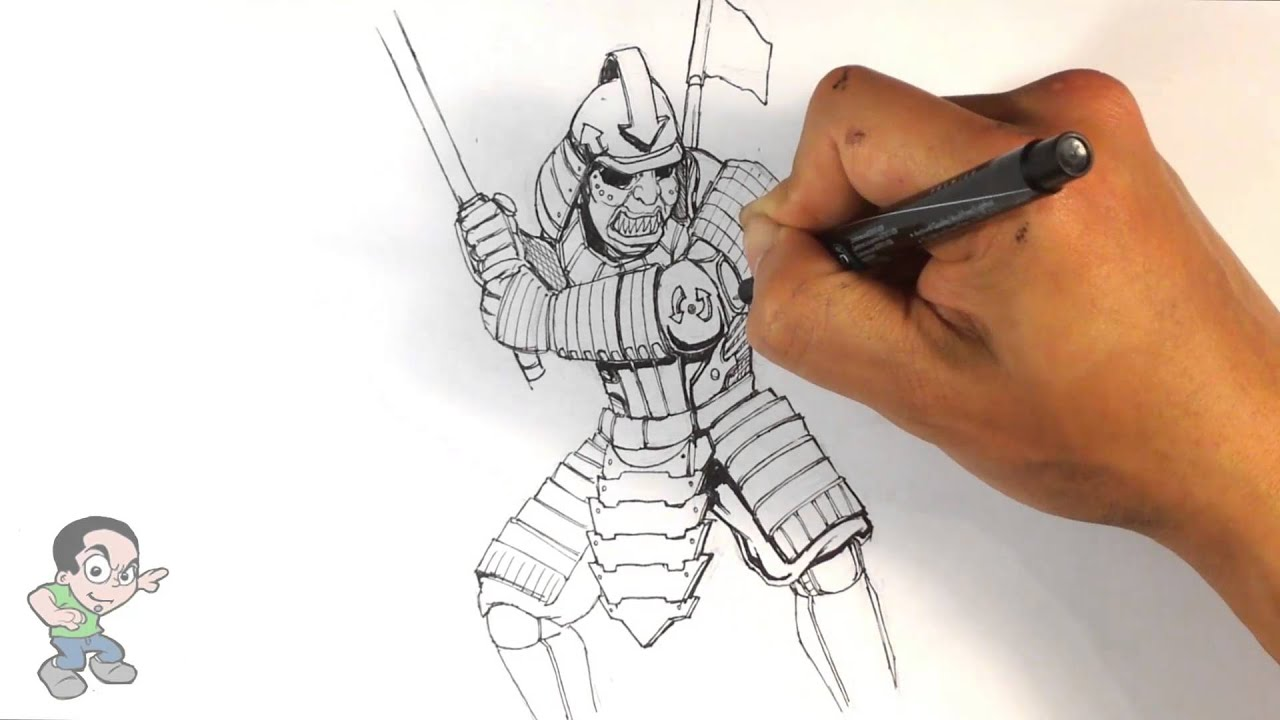 Speed Drawing Samurai Easy Drawings Youtube