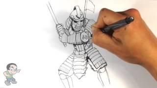 samurai easy drawings drawing