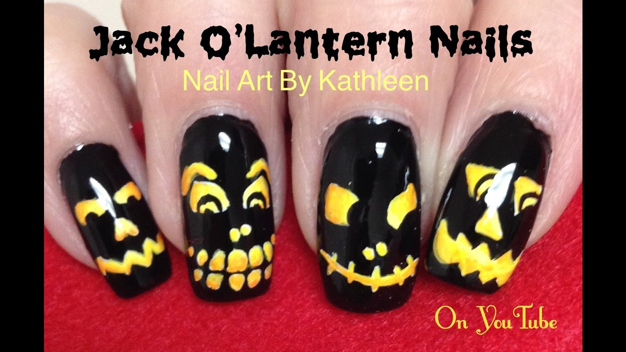 Halloween Jack O\'Lantern Nail Art Tutorial, DIY Freehand Nails - YouTube