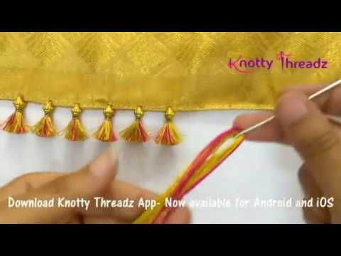 How to make Baby Kuchu Design using 2 colours | Double Colour Saree Tassels |  www.knottythreadz.com