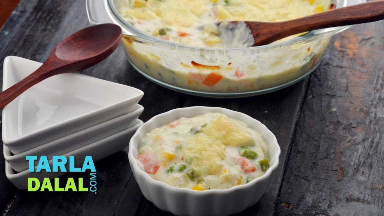 Baked vegetable au gratin by tarla dalal youtube forumfinder Image collections