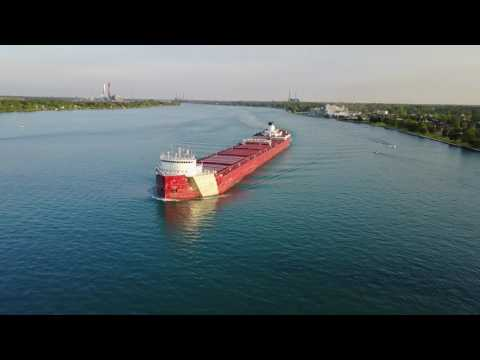 Roger Blough Flyover 5 27 17 St Clair River - Great Lakes Freighter