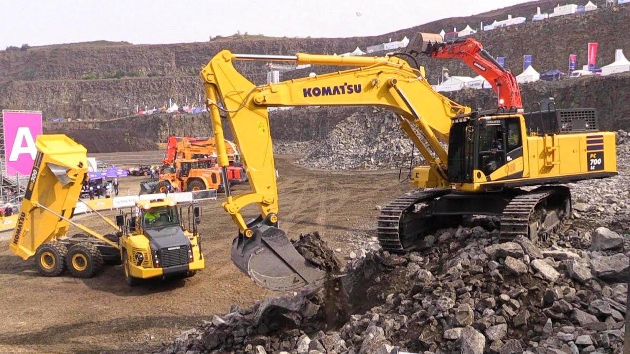 Komatsu Pc700lc 11 Excavator Loading Komatsu Hm300 5