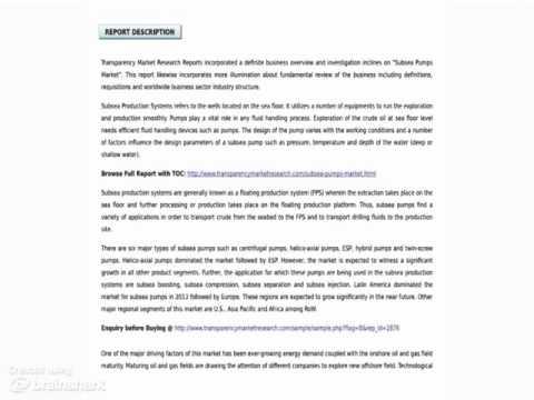 Subsea Pumps Market - Industry Analysis Report, 2014 - 2020 (1)