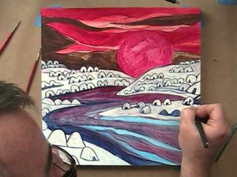 Time Lapse Landscape Painting : Pink Moon : 8/17/1...