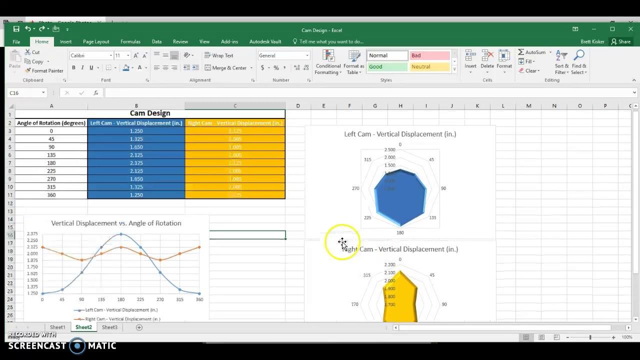 pltw ied - cam design - polar graphs in excel