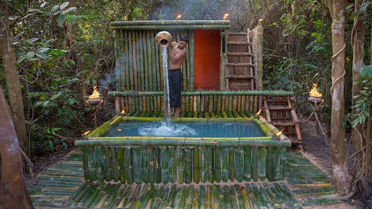 Build incredible Mini Swimming Pool for Bamboo Mud Villa House in Deep Jungle