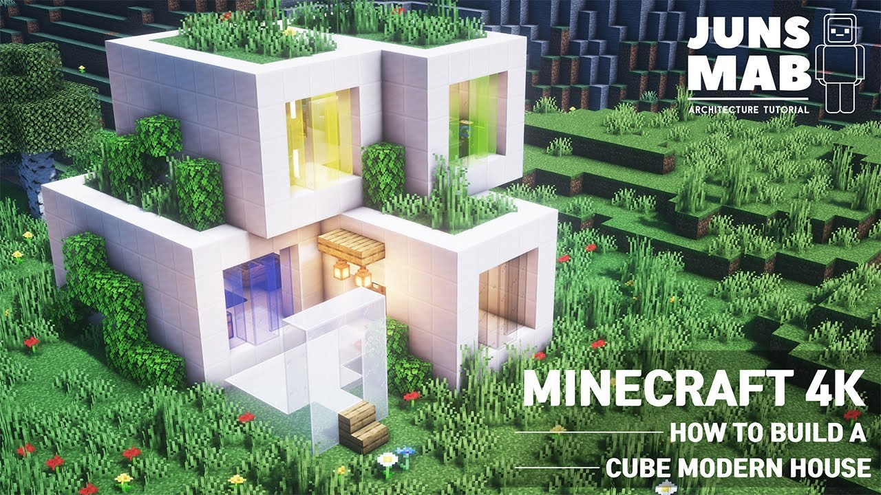Minecraft tutorial :: How to build a cube house in minecraft ( Modern house ) #109