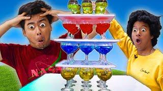 DON'T KNOCK OVER THE GLASS JENGA!  Challenge (ft. @Marlin)