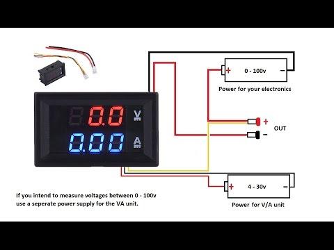 DC 100V 10A Voltmeter Ammeter Blue + Red LED Amp Dual Digital Volt MeterA meter