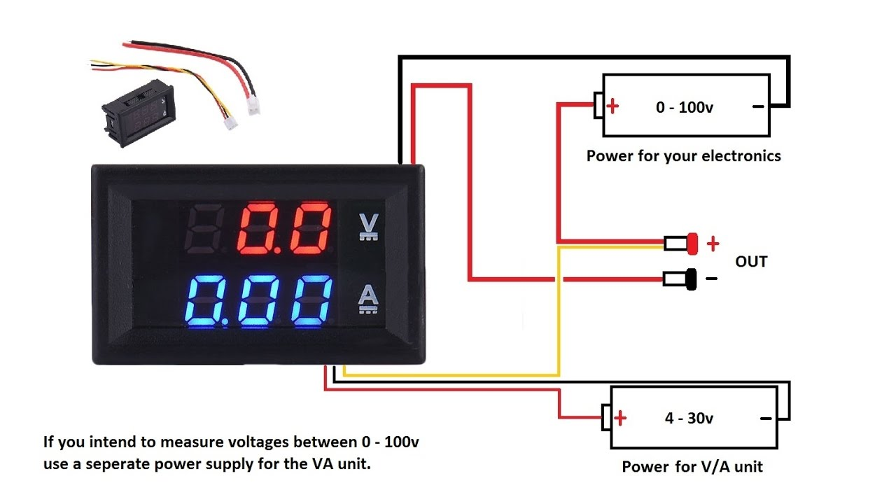 dc 100v 10a voltmeter ammeter blue red led amp dual digital volt rh youtube com 60 amp volt meter wiring diagram Voltage Meter Wiring Diagram