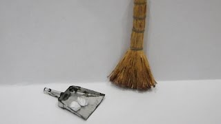 DIY Миниатюра веник и совок / Miniature broom and dustpan