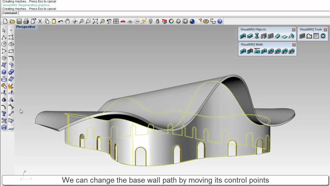 Visualarq 1 How To Extend A Wall To A Freeform Roof 2