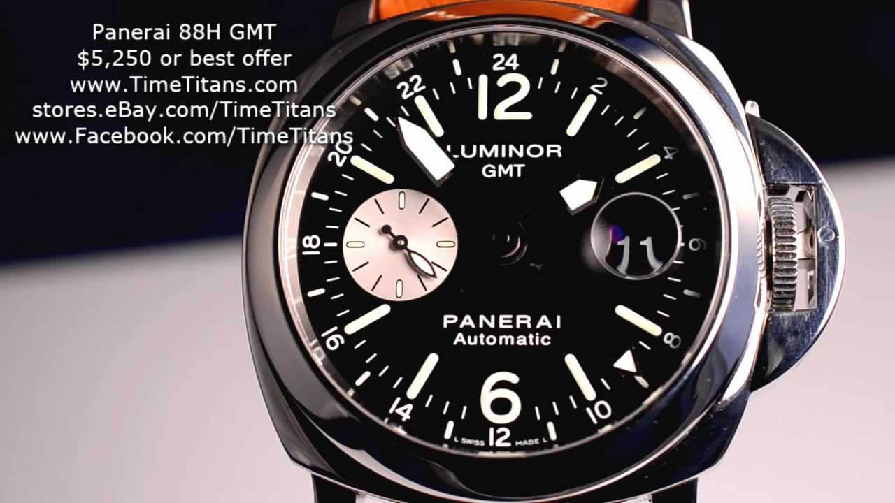 Pre-owned panerai luminor 1950 10-days gmt (pam00270) self-winding automatic watch, features a 44mm stainless steel case surrounding a black dial on a blac | watchbox. Indicator and power reserve indicator. This watch comes with an oem rubber strap and the original box. N series. We back this watch with a 12.