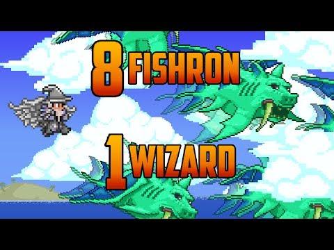 Terraria - 8 Fishron bosses vs 1 Merlin (Bug)