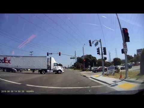 San Bruno, CA. Car Accident. Careful when a truck makes a turn! #fedex