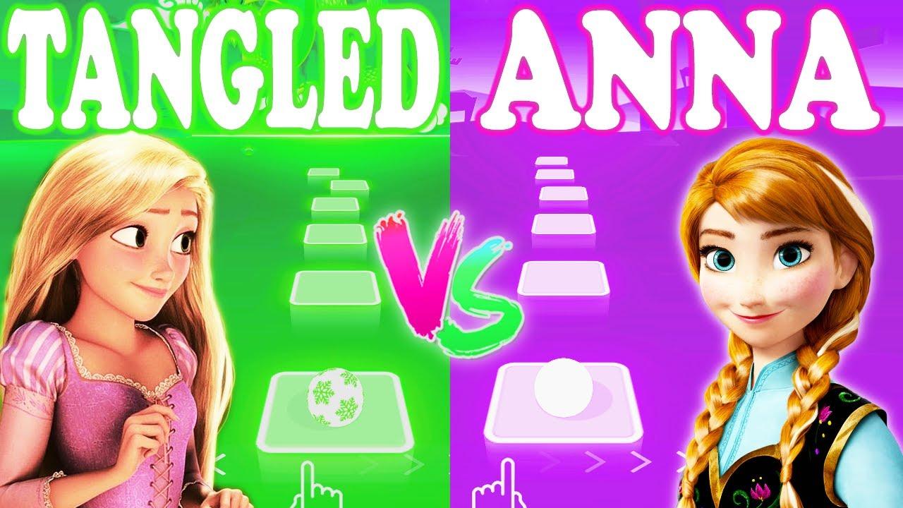 Tangled Rapunzel I See The Light Vs Anna Love Is An Open Door - Tiles Hop EDM Rush!