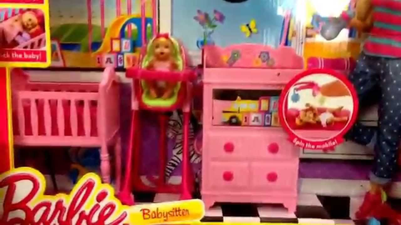 "barbie ""babysitter"" doll and baby bedroom toy set / toy review"
