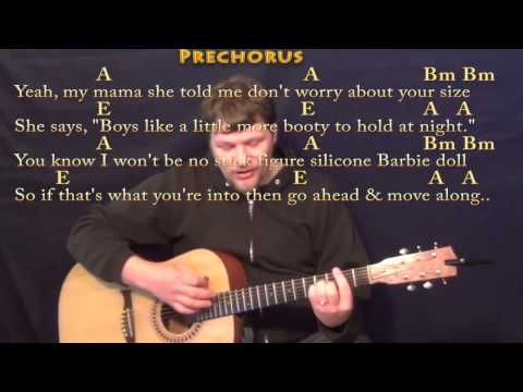 All About That Bass (Meghan Trainor) Strum Guitar Cover Lesson with Chords/Lyrics